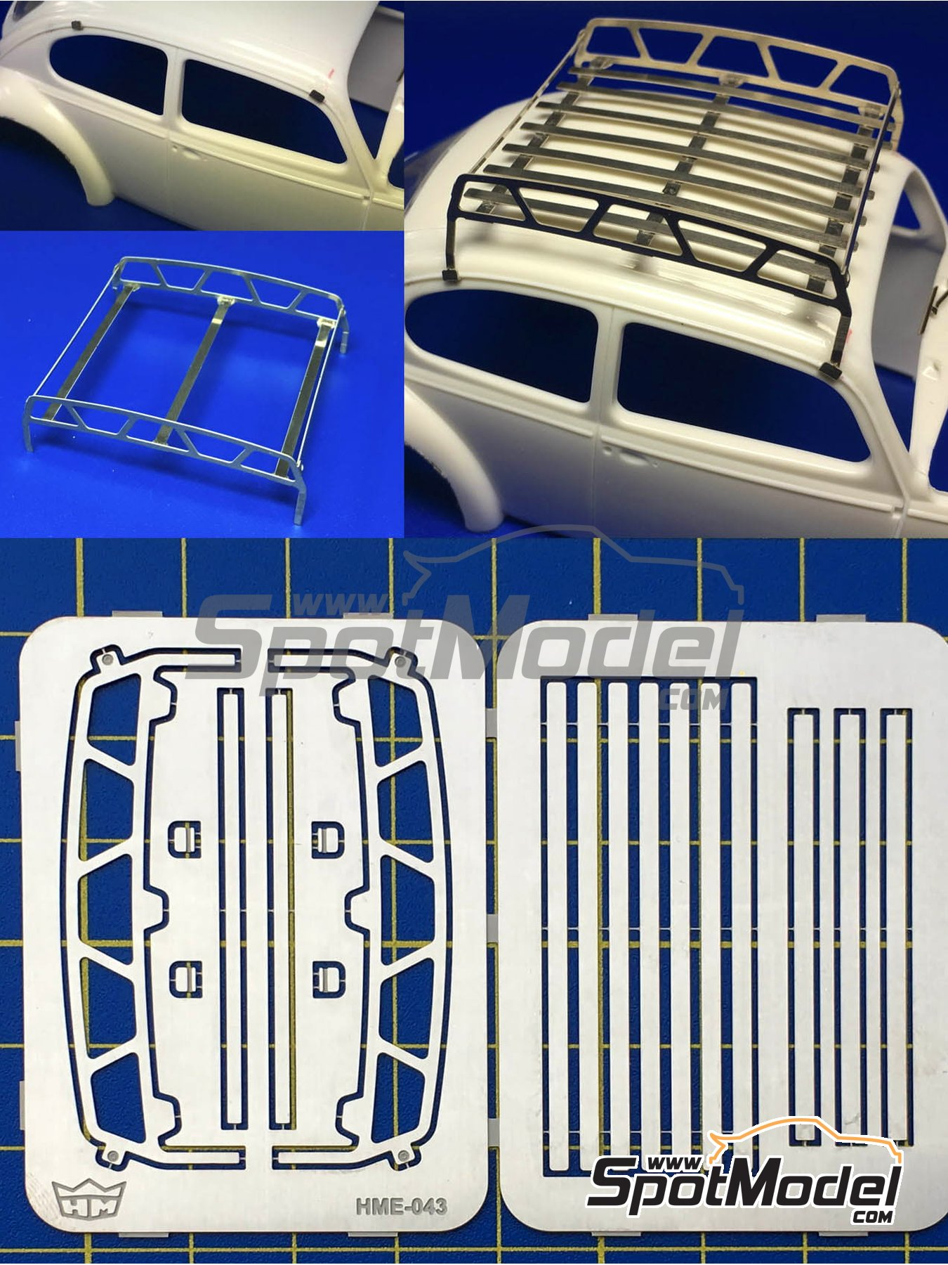 roof rack detail in 1 24 scale manufactured by highlight model studio ref hme 043