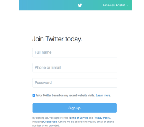 twitter sign up page