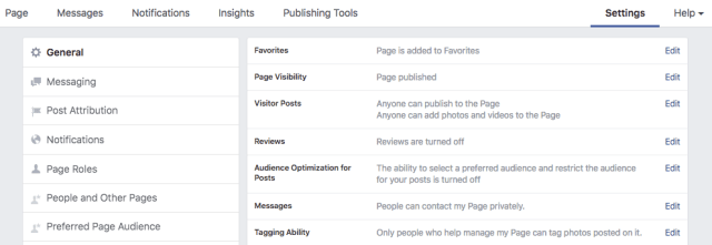 business page settings