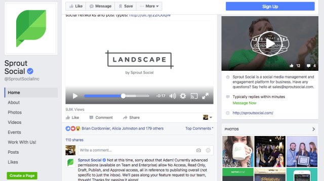 sprout facebook business page example