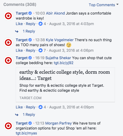 target facebook live comments