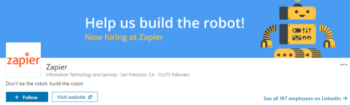 Zapier's LinkedIn header promotes that they're hiring