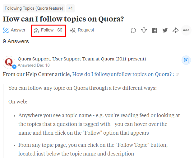 """The """"Follow"""" button on Quora"""