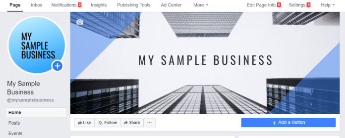 my sample business facebook business page