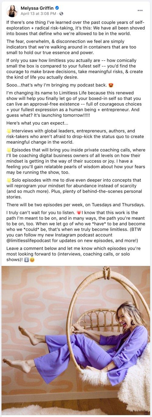 facebook post ideas - melyssa griffin telling a story through a facebook post