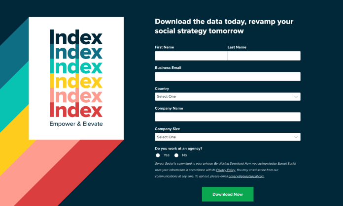 Screenshot of the opt-in for for the Sprout Social Index 2019 Report