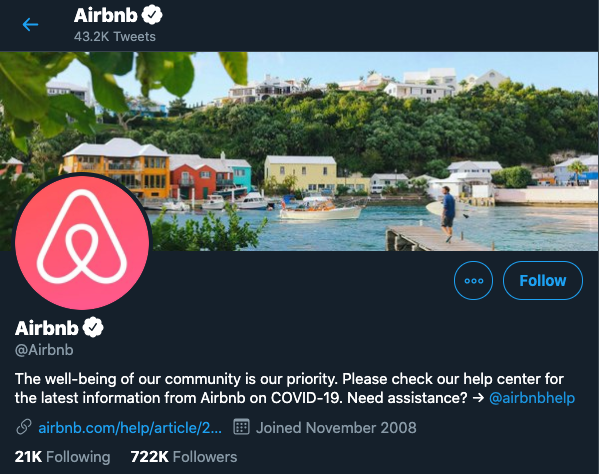 airbnb main twitter profile