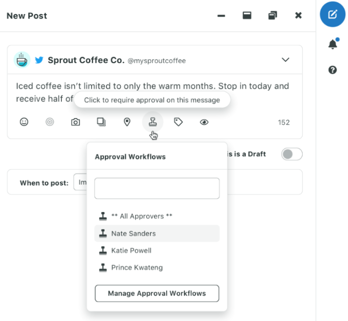 Improving grammar for marketers means allowing multiple people to view your messages, such is the case with approved posts in Sprout