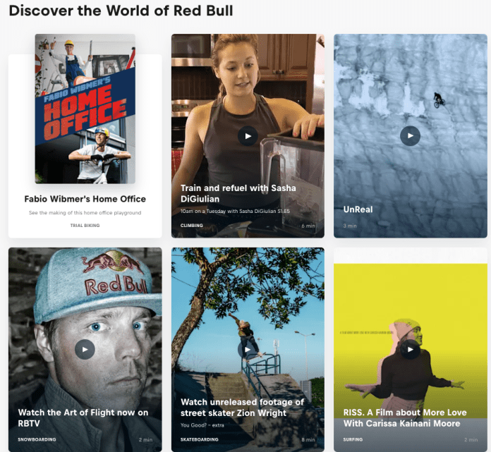 red bull content examples