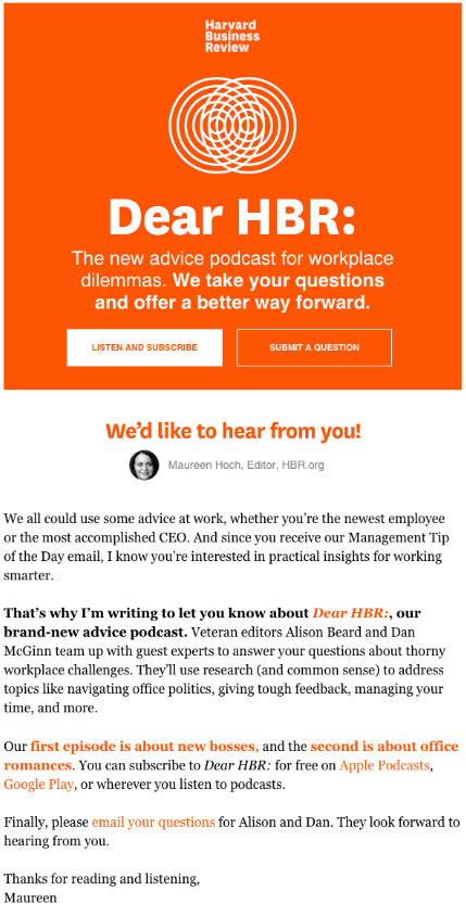 podcast announcement email