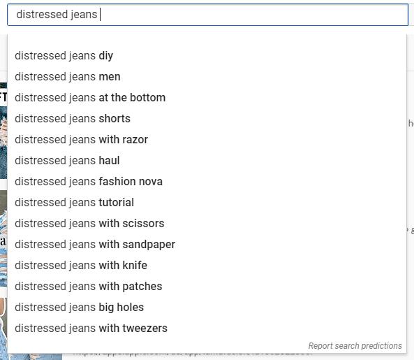 distressed jeans YouTube SEO keyword ideas