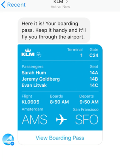 boarding pass via message from KLM airlines