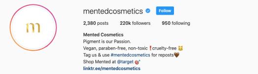 mented cosmetics IG bio showing linktree URL