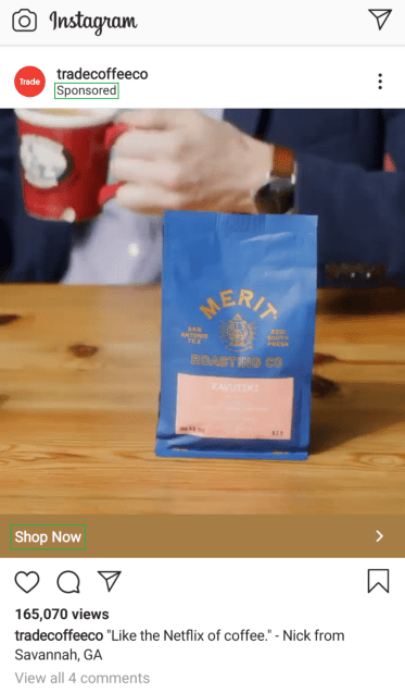 trade coffee instagram ad