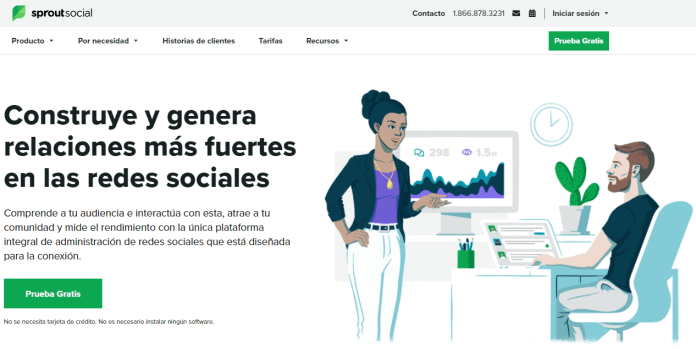 Homepage of Sprout Social international marketing Spanish website