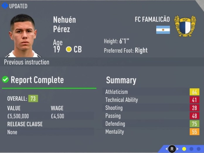 FIFA 20 Career Mode Hidden Gems: Nehuen Perez will prove tough for attackers to beat