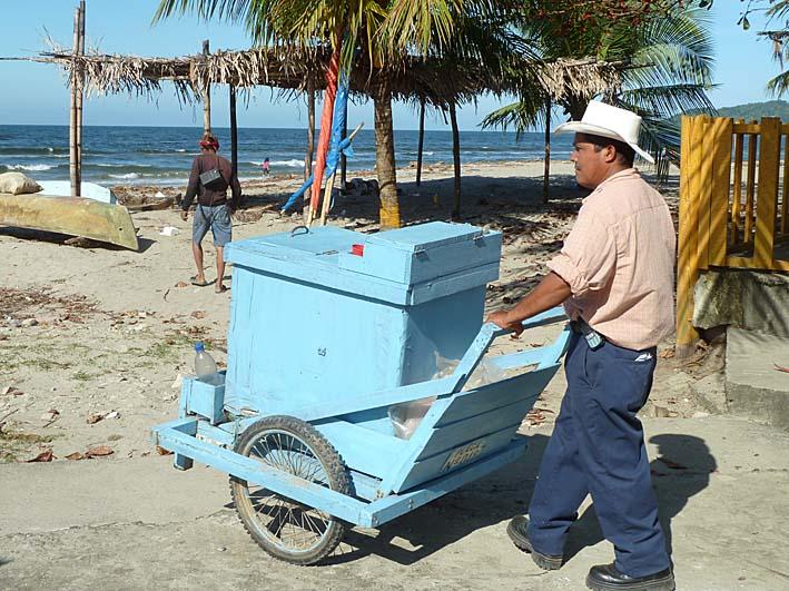 Strandförsäljare. Tela