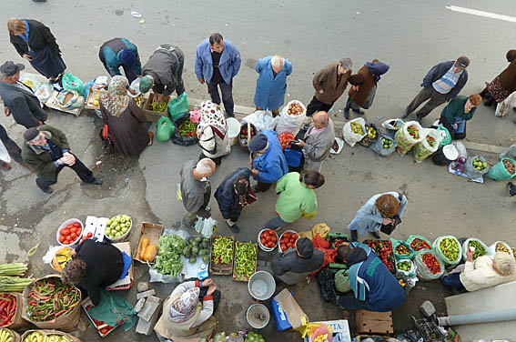 Marknadsplatsen Bit Pazar. Skopje
