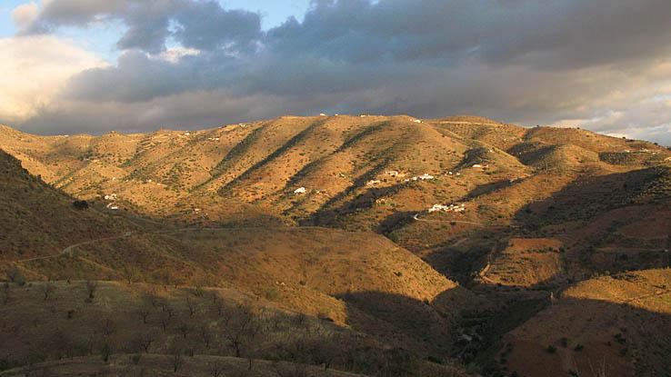 Landskap i solnedgång. Nära El Torcal