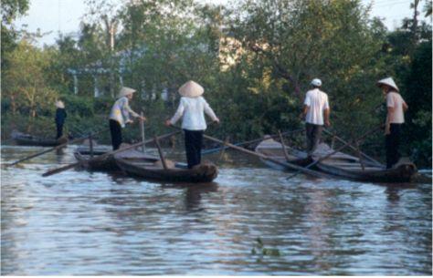 Kvinnor som ror. Mekongdeltat
