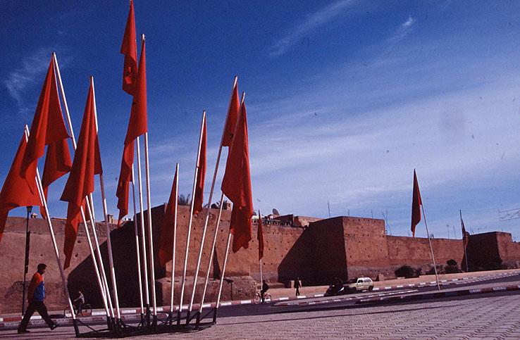 Del av stadsmuren. Marrakech