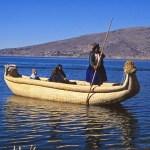 Urusindianer i vassbåt. Titicacasjön