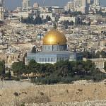 Klippdomen sedd från Oljeberget. Jerusalem. Israel
