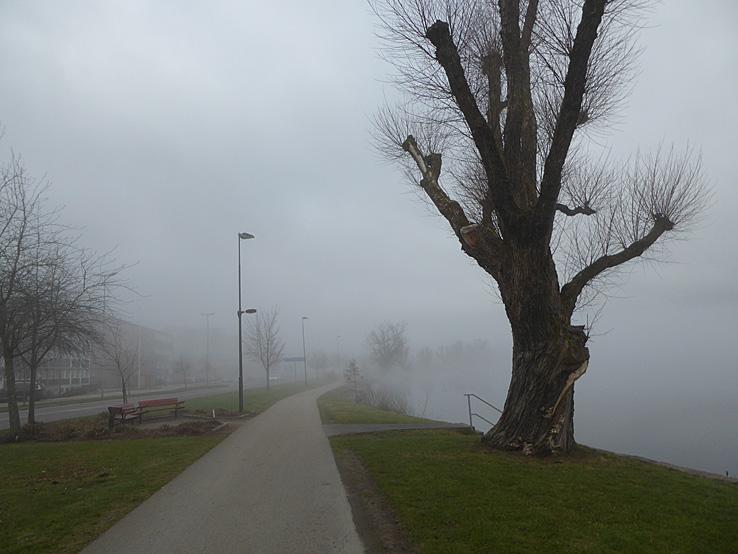Dimmig morgon i Ulricehamn. Ätradalsleden