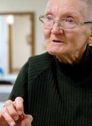Elberta Cochran, 81, talks through sign language about how the deaf community has changed and grown throughout the years in Craig.