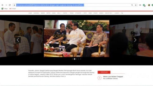 Foto Jokowi dan Menhub Budi Karya 'Siapa Korban Selanjutnya' (turnbackhoax.id)