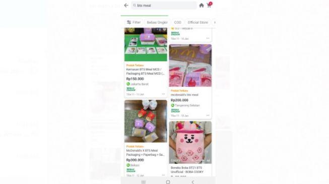 Kemasan BTS Meal dijual di toko belanja online. [Screenshot/Lintang Siltya Utami]