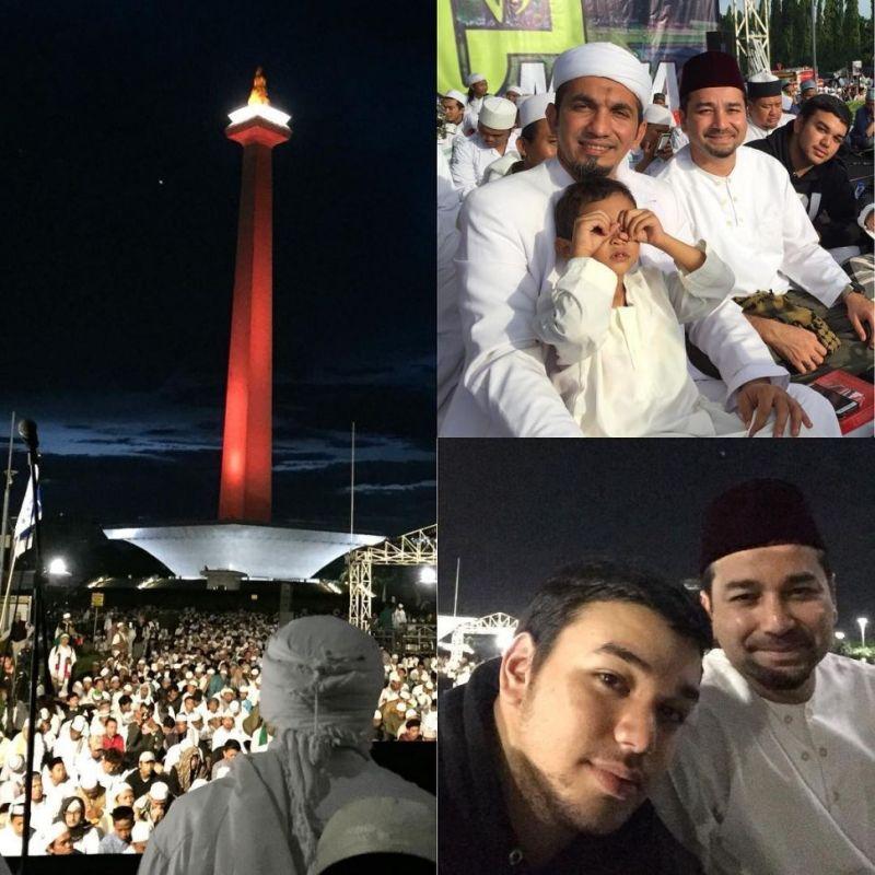 Umar Lubis dan adik, Shabri Lubis di acara peringatan 212 di Monas, Jakarta. [Instagram]