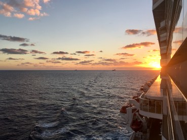 Sunset behind the ship