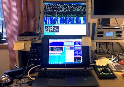 The multiplier position with the SunSDR2 PRO to the left and the E-Coder controller to the right of the laptop. Notice the multiplier bell used every time a new multiplier was logged.