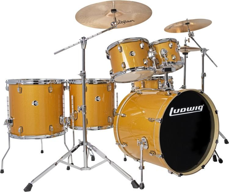 element evolution lcee6220 6 piece complete drum set with zildjian cymbals gold sparkle