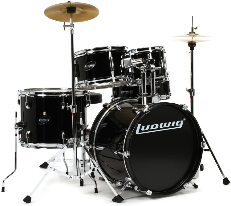 Ludwig 5 piece Junior Drum Set with Cymbals and Hardware   Black     Ludwig 5 piece Junior Drum Set with Cymbals and Hardware   Black image 1