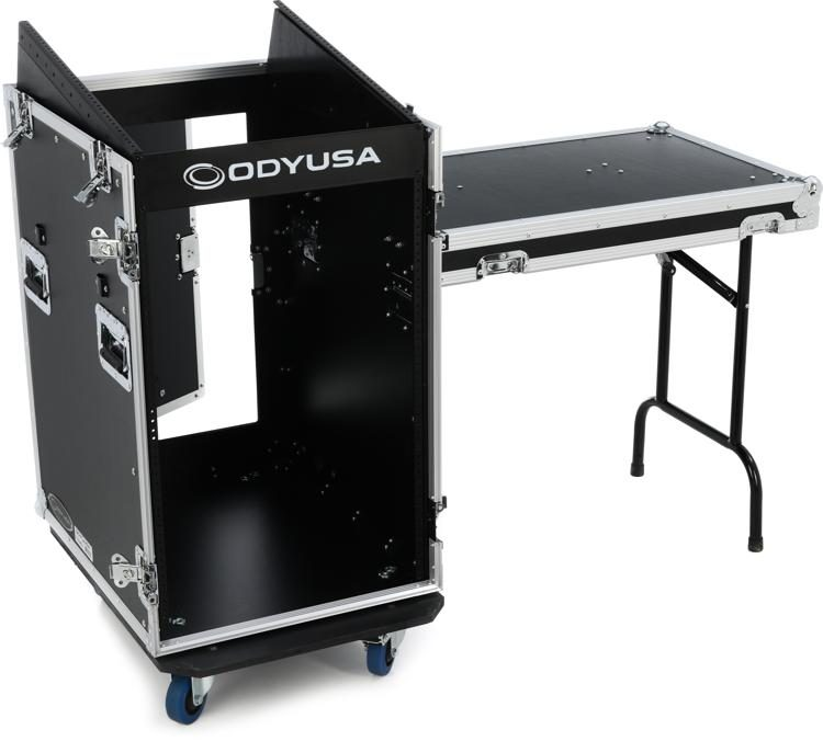 fz1316wdlx 13u top 16u front pro combo rack case with side table and casters