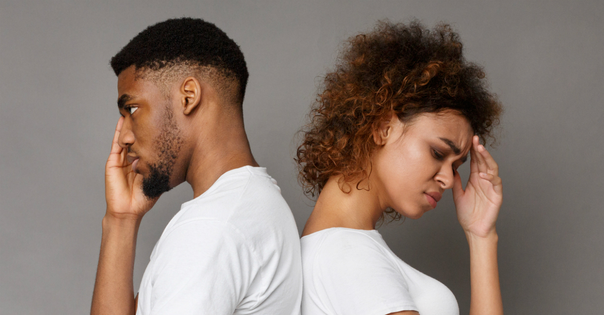 couple backs to each other upset disagreement, shame undermines marriage