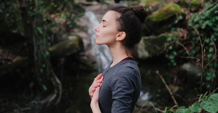 Peaceful woman outside