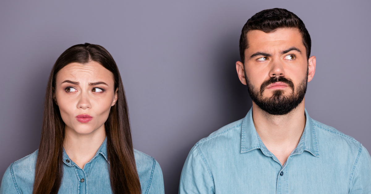 Couple who are upset with each other