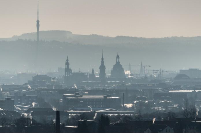 Early morning fog over Dresden.