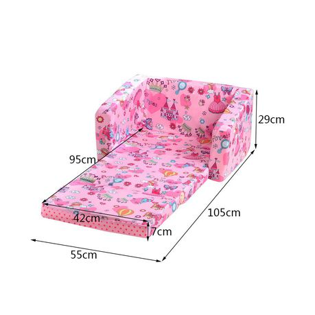 2 in 1 foldable children kids foam sofa and bed pink