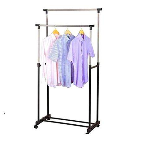 double pole adjustable clothes rack