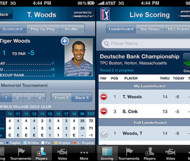 This Officially Licensed Iphone App Is Not Only Easy To Use But Provides Live Real Time Pga Tour Leaderboard Customizable Scores The Ability To Follow