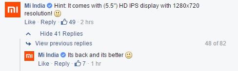 Xiaomi Redmi Note Prime Facebook