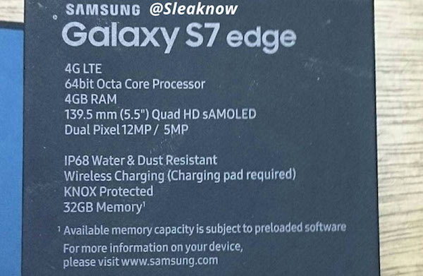 Samsung Galaxy S7 Edge Retail Box Leaked