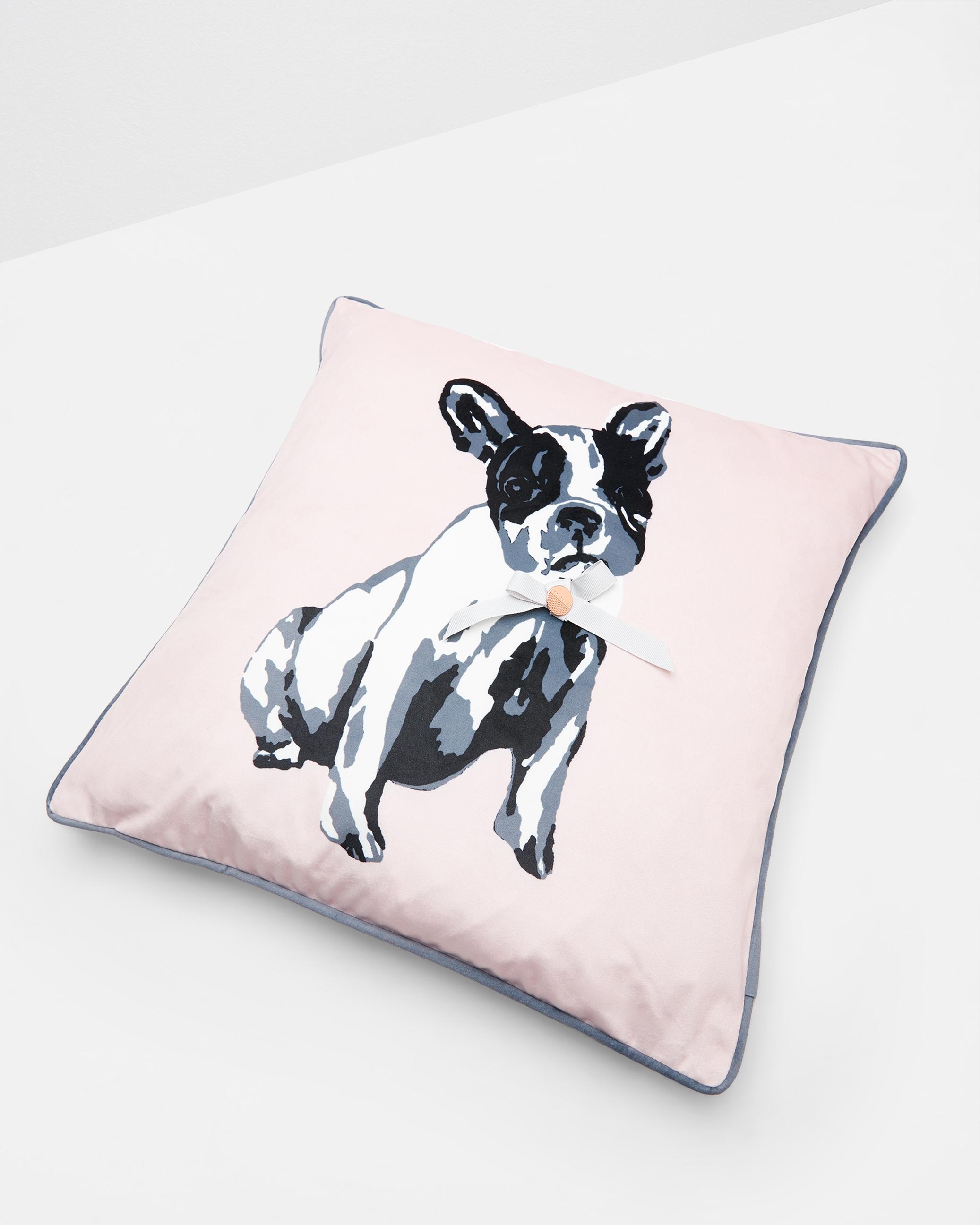 french bulldog cushion pale pink