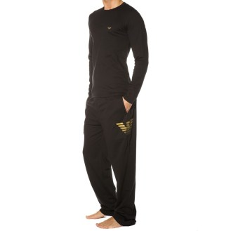 Pyjama Xmas Eagle Stretch Cotton Noir Emporio Armani