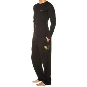 Pyjama Xmas Eagle Stretch Cotton Noir Emporio Armani