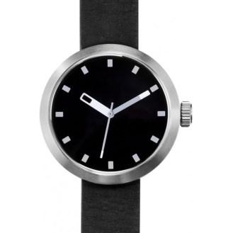 montre Clomm gris argente, fond ceramique,noir bracelet cuir-noir